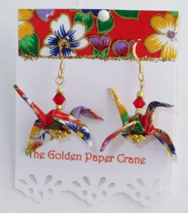 Paper Crane earrings pansy flowers on bright red background