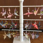 Paper Crane Ornaments on a stand