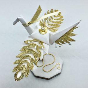 Paper Crane Sculpture Glitter Wings