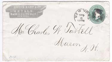1872 envelope - letter to Charles W. Tarbell