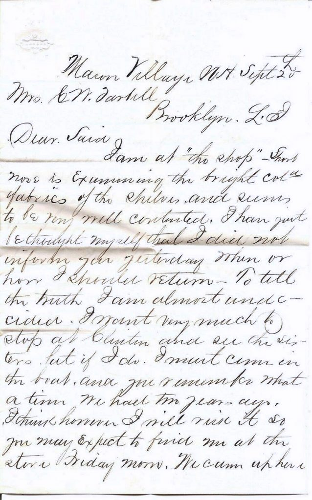 Charles W. Tarbell Letter page 1