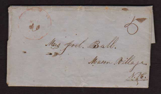 1842 letter to Joel Ball of Mason Village