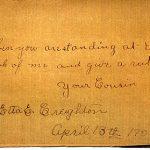 Etta E CREIGHTON 1906 Autograph Book Page