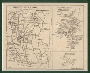 Old Map of Greenville and Mason, NH