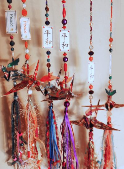 Paper Cranes Embellished with Tassels