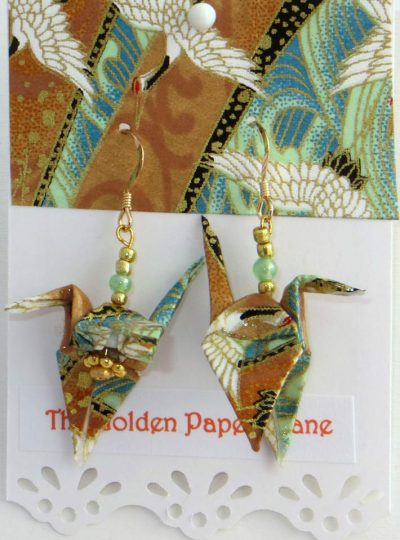 Paper Crane earrings with flying cranes